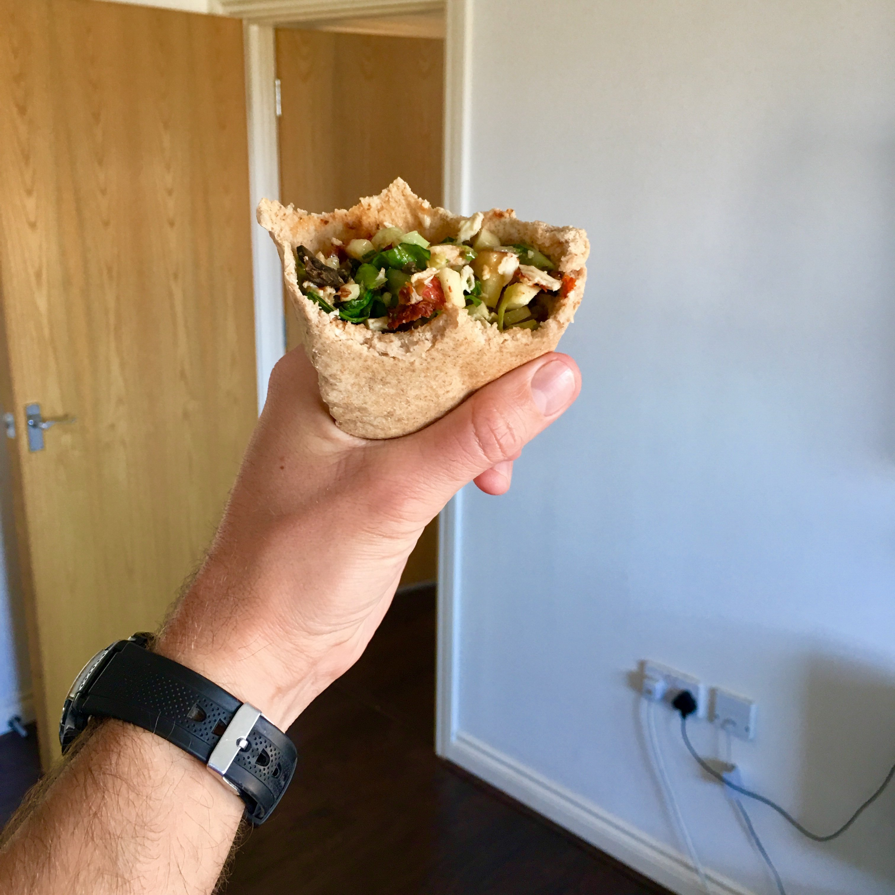 summer chicken salad hand pittas
